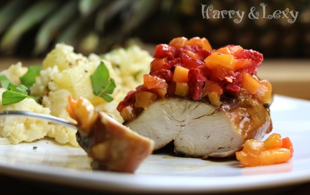 Honey Lime Chicken with Mango-Strawberry Salsa