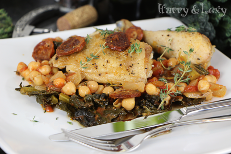 Chicken with Chickpeas, Chorizo and Kale