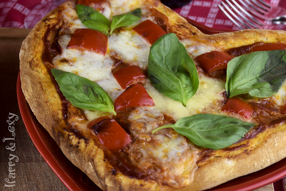 Heart Shaped Pizza with Fresh Basil
