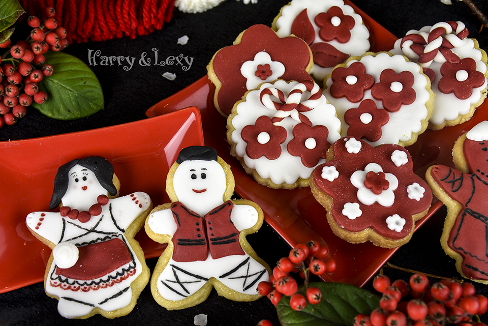 Red and White Fondant Cookies