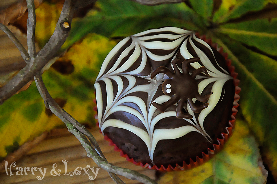 Chocolate Spiderweb Cupcake for Halloween