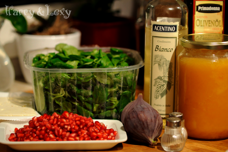 Ingredients for a Lamb Lettuce Pomegranate Salad with Feta Cheese