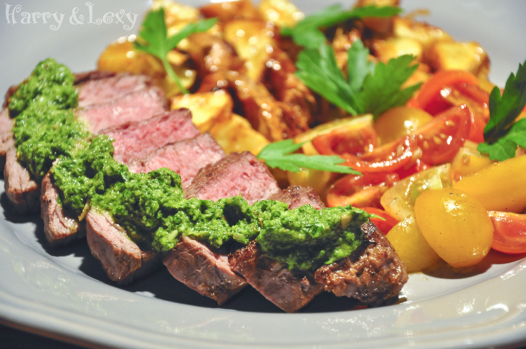 Sirloin Steak with Chimichurri Sauce and Roasted Potatoes