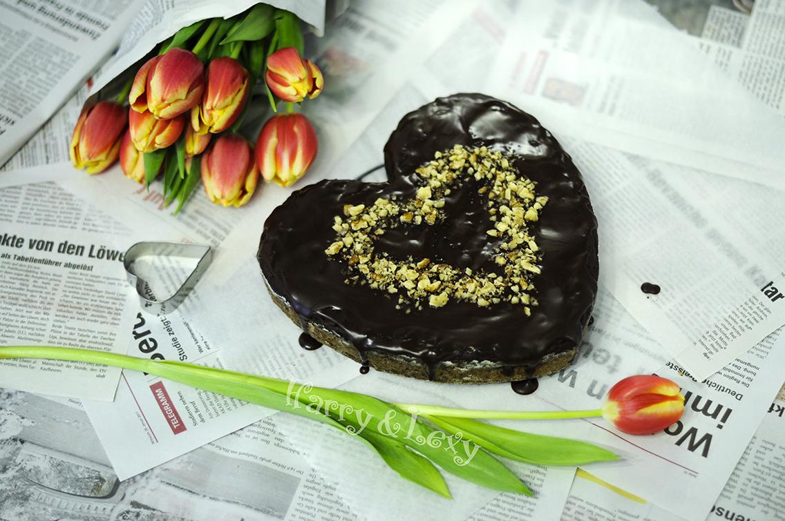 Heartshaped Chocolate-Banana Cake with Walnuts