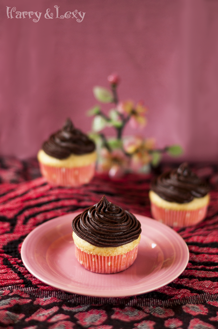 Quick Vanilla Cupcakes with Chocolate Icing