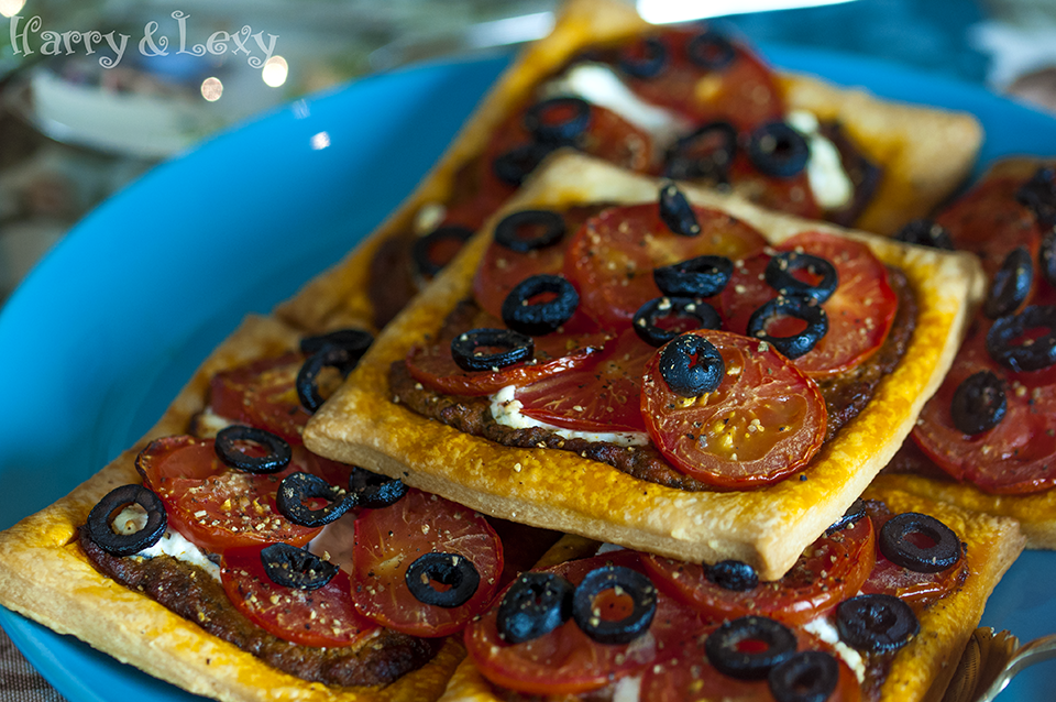 Tomato, Black Olive and Ricotta Puff Tarts