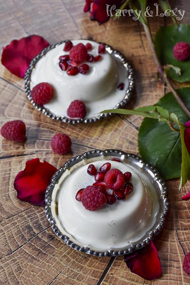 White Chocolate Panna Cotta with Raspberries