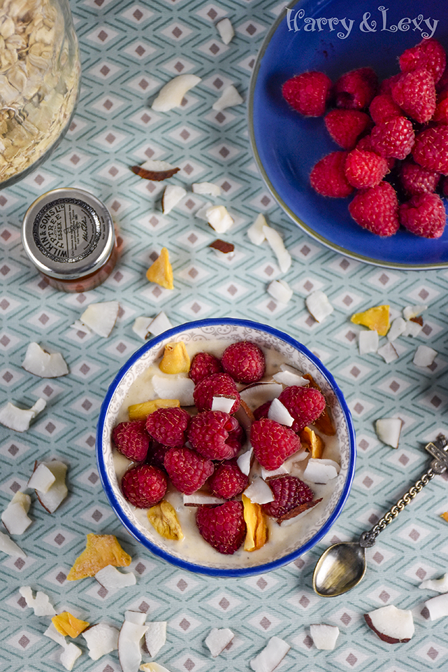 Raspberry Almond Butter Overnight Oats