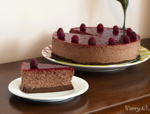 Шоколадова мус торта с малини